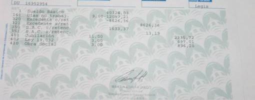 El recibo de sueldo de Vera cuya parte será donada.