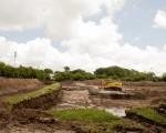 Obras paralizadas en el parque Sarmiento.