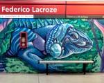 Pintan murales en la estación Federico Lacroze.